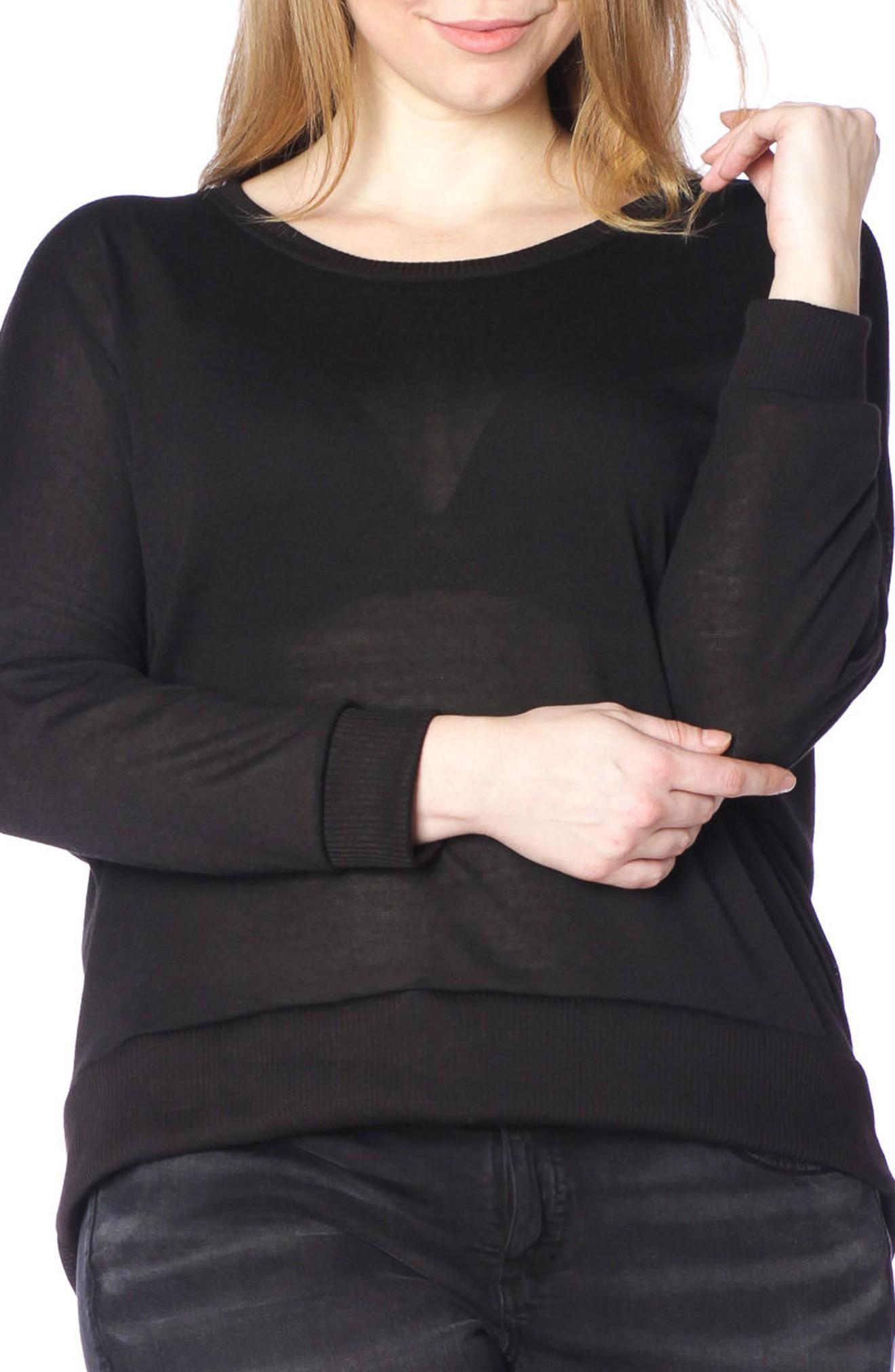Slink Jeans Dolman Sleeve Ribbed Pullover In Black