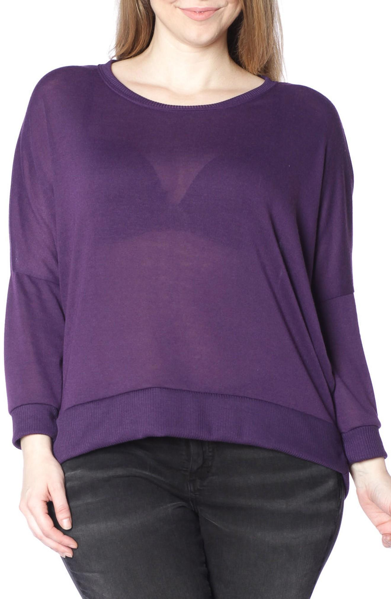 Slink Jeans Dolman Sleeve Ribbed Pullover In Plum