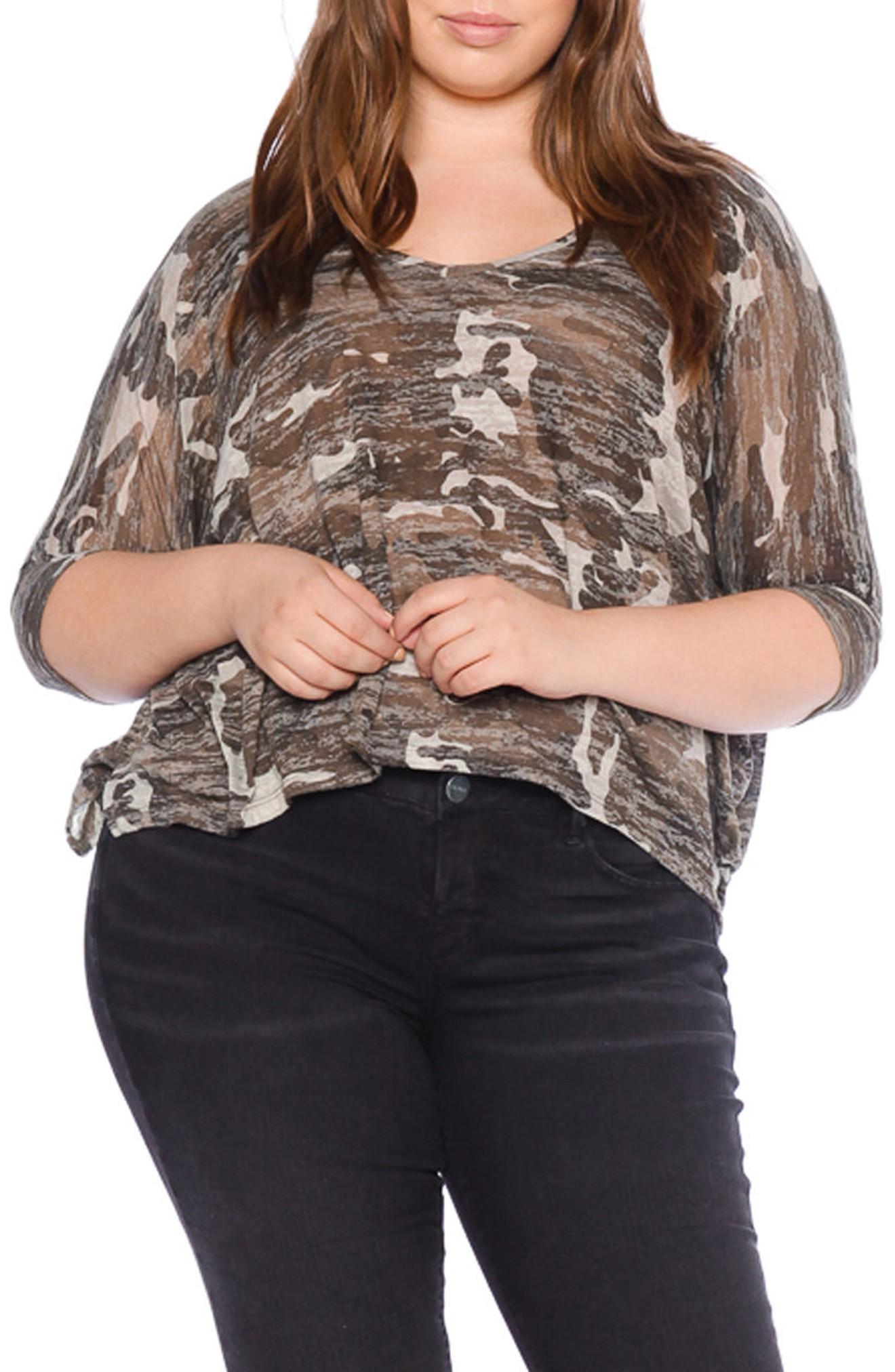 Slink Jeans Camo Print Shirt In Burnout Camo