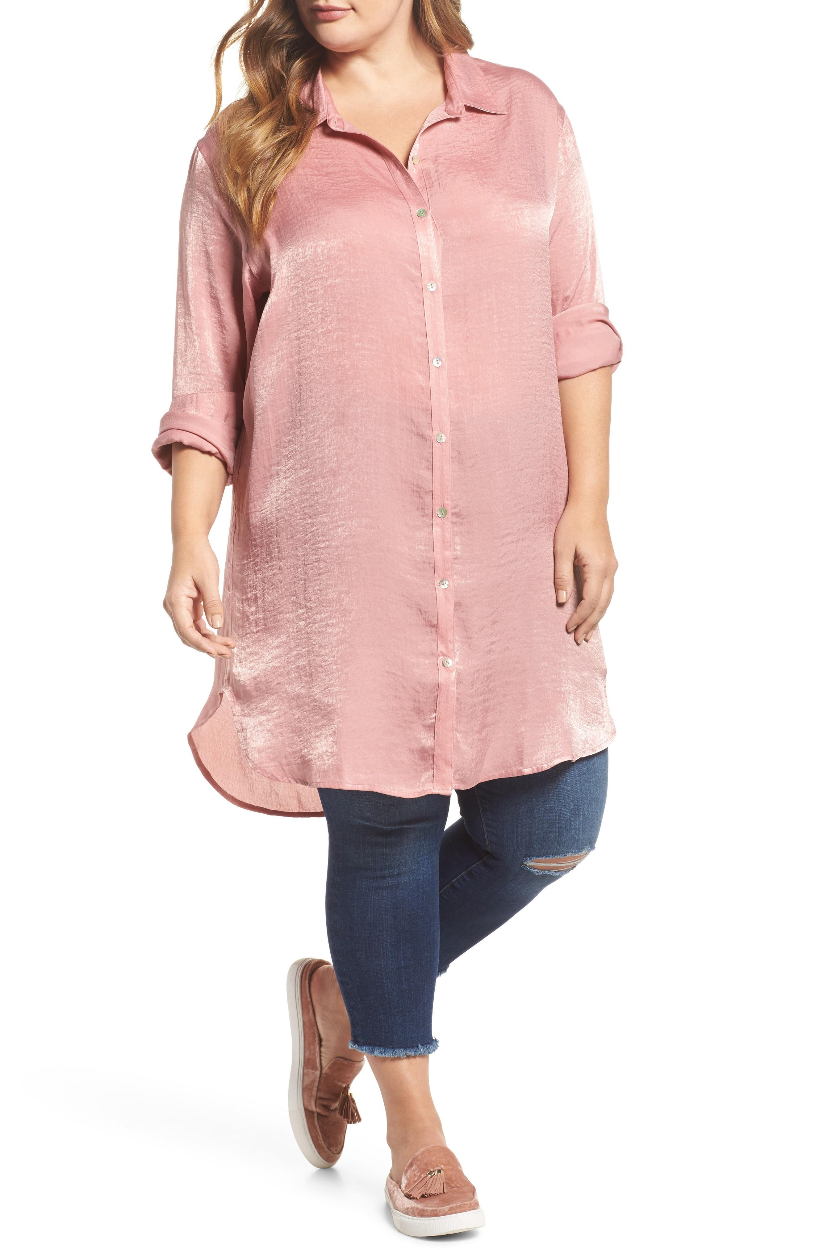 Slink Jeans Hammered Satin Tunic Shirt In Rosewood