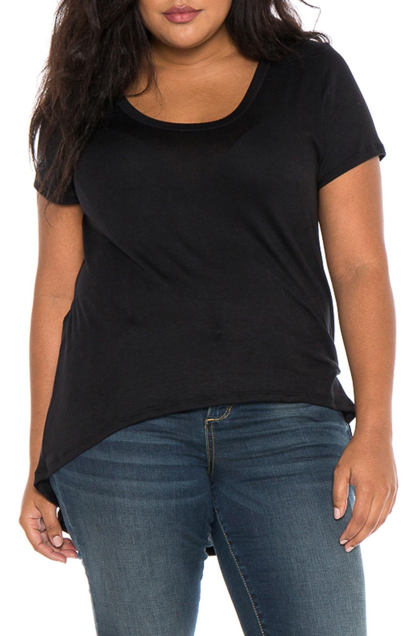 Slink Jeans High/low Scoop Neck Tee In Black