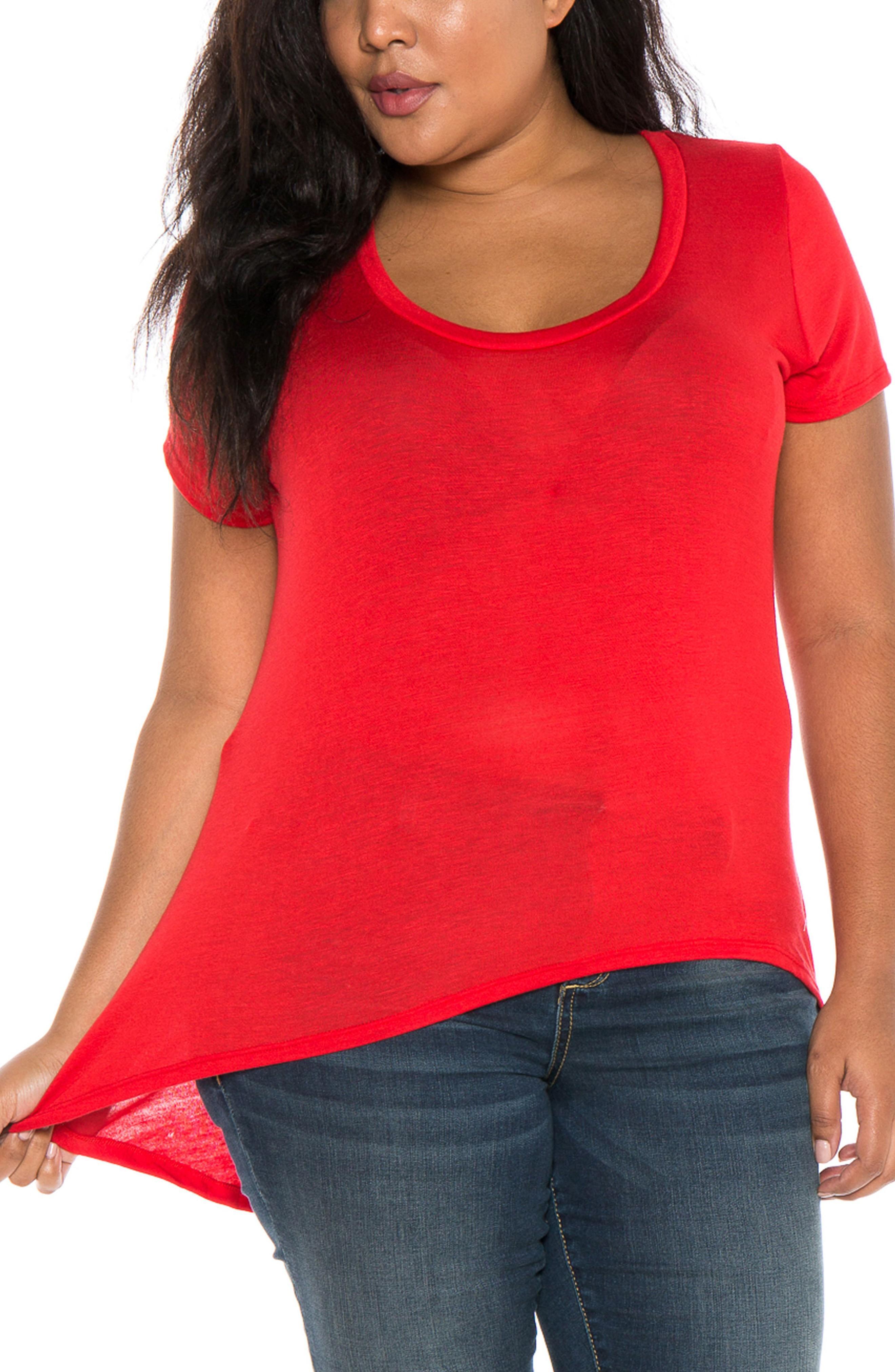 Slink Jeans High/low Scoop Neck Tee In Red