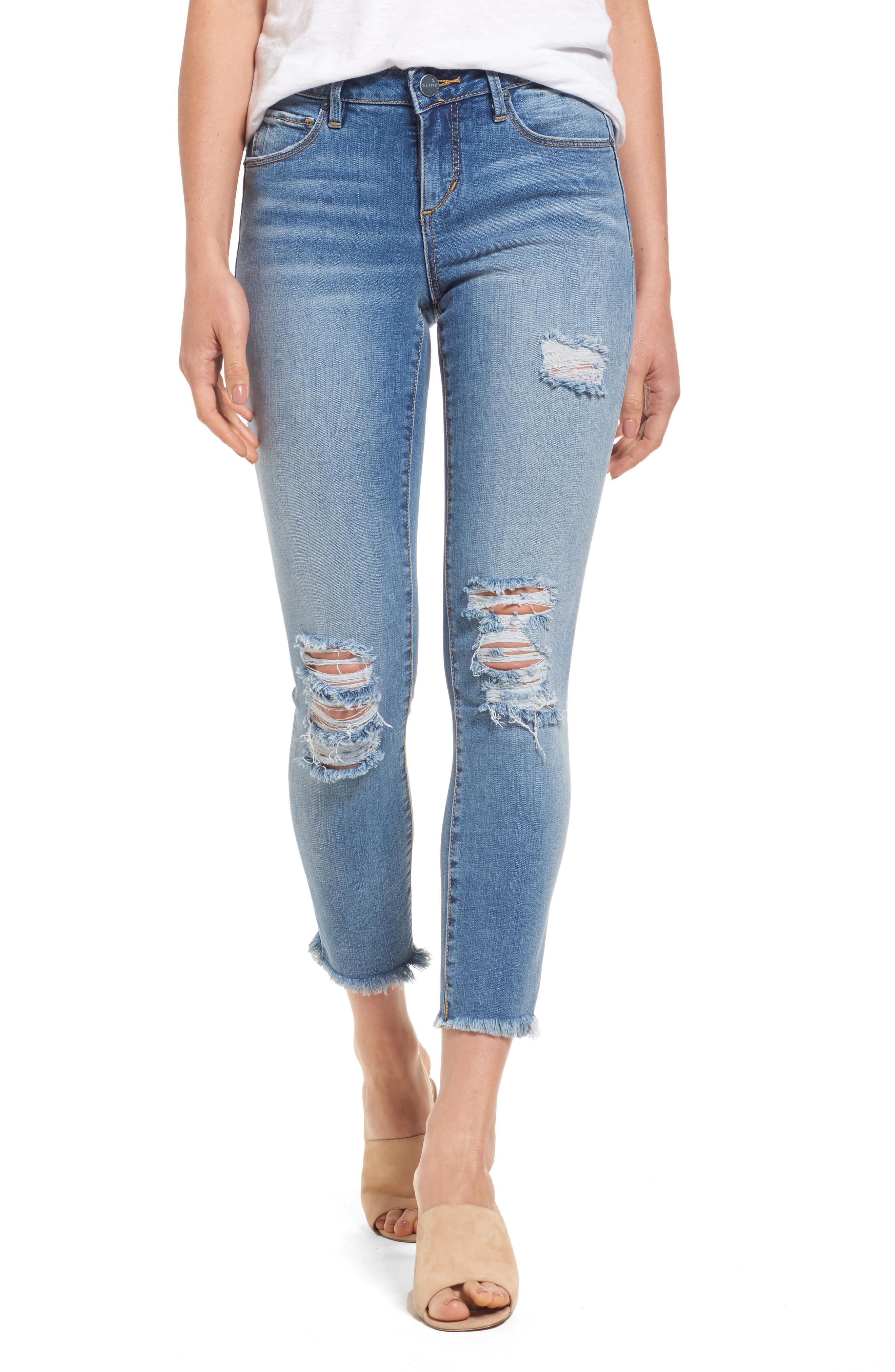 Slink Jeans Frayed Hem Ankle Jeans In Eden