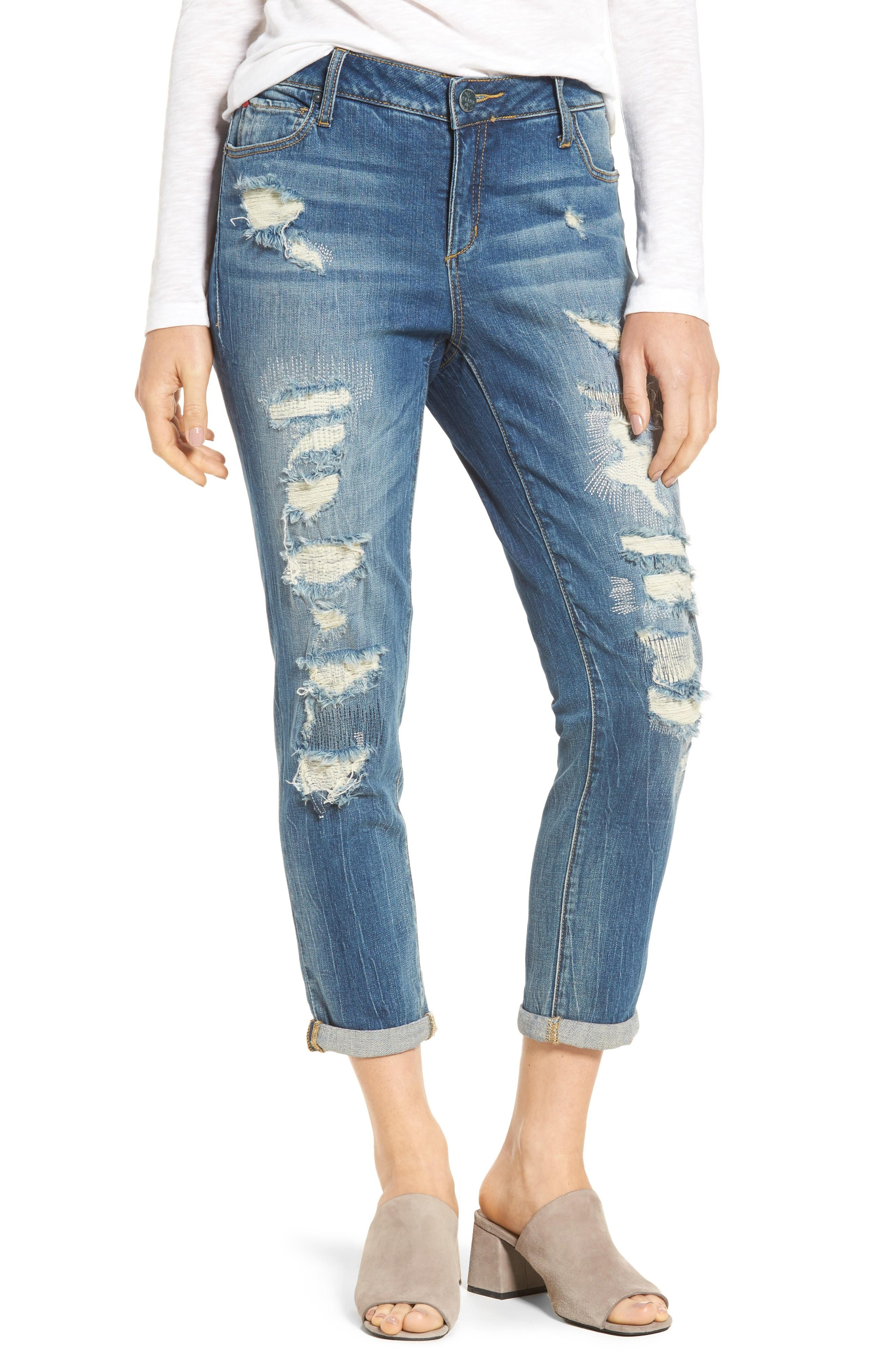 Slink Jeans Distressed Ankle Boyfriend Jeans In Chelsea