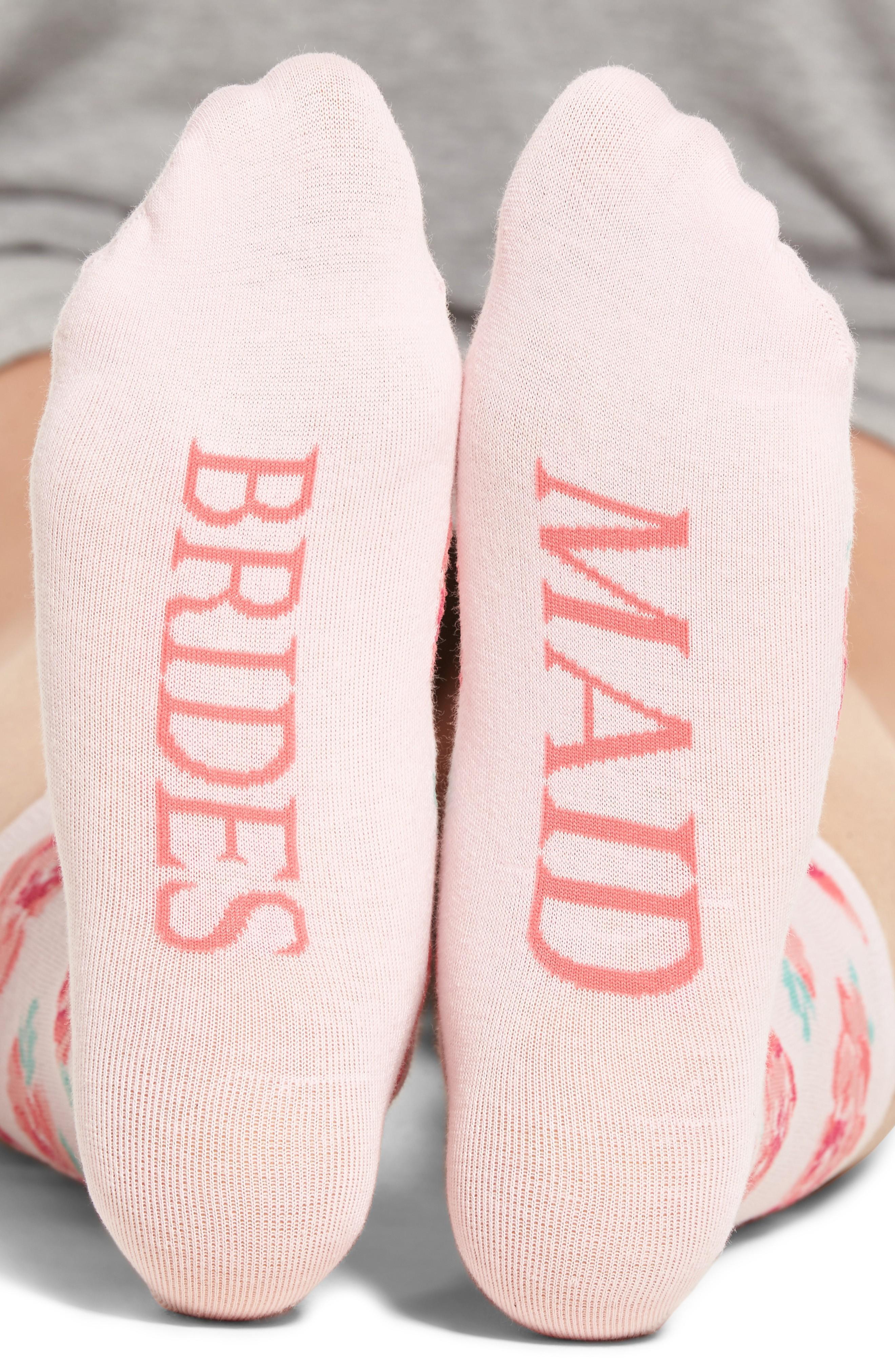 Sockart Bridesmaid Crew Socks In Light Pink