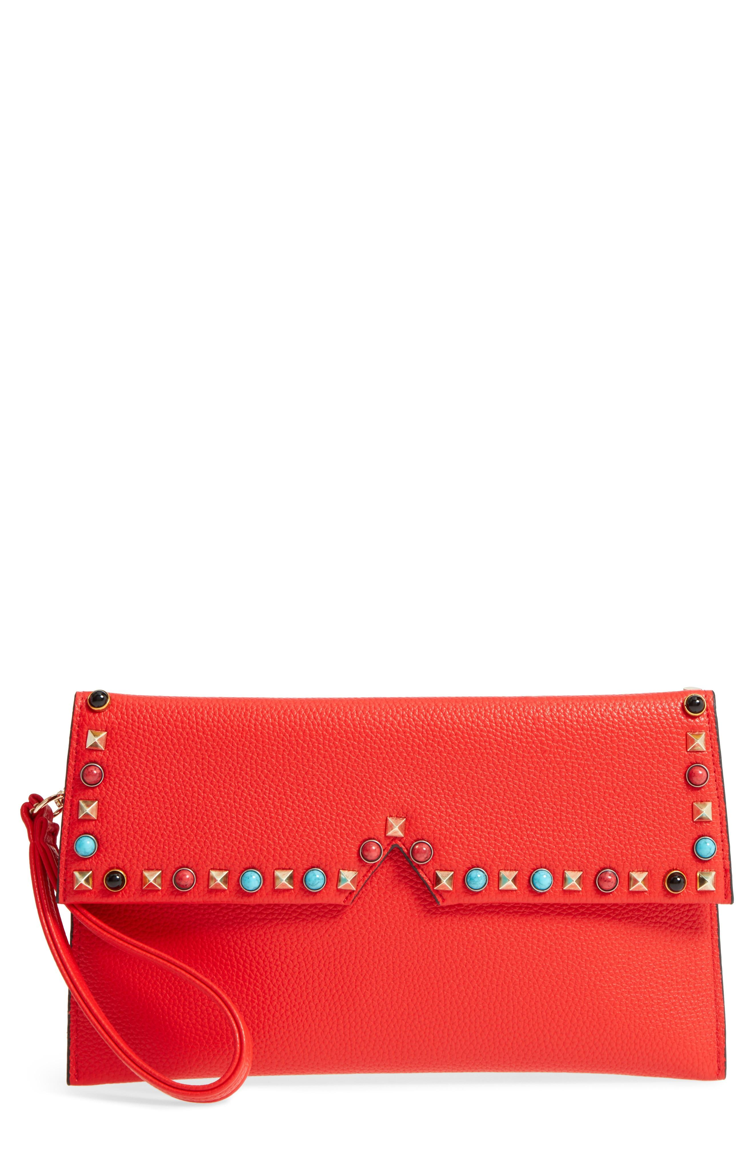 Sondra Roberts Studded Faux Leather Clutch - Red