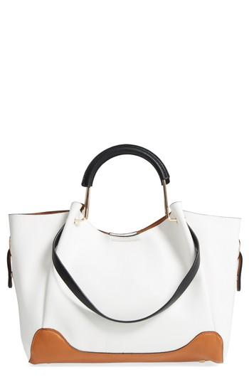 Sondra Roberts Faux Leather Tote & Canvas Pouch - Beige In White