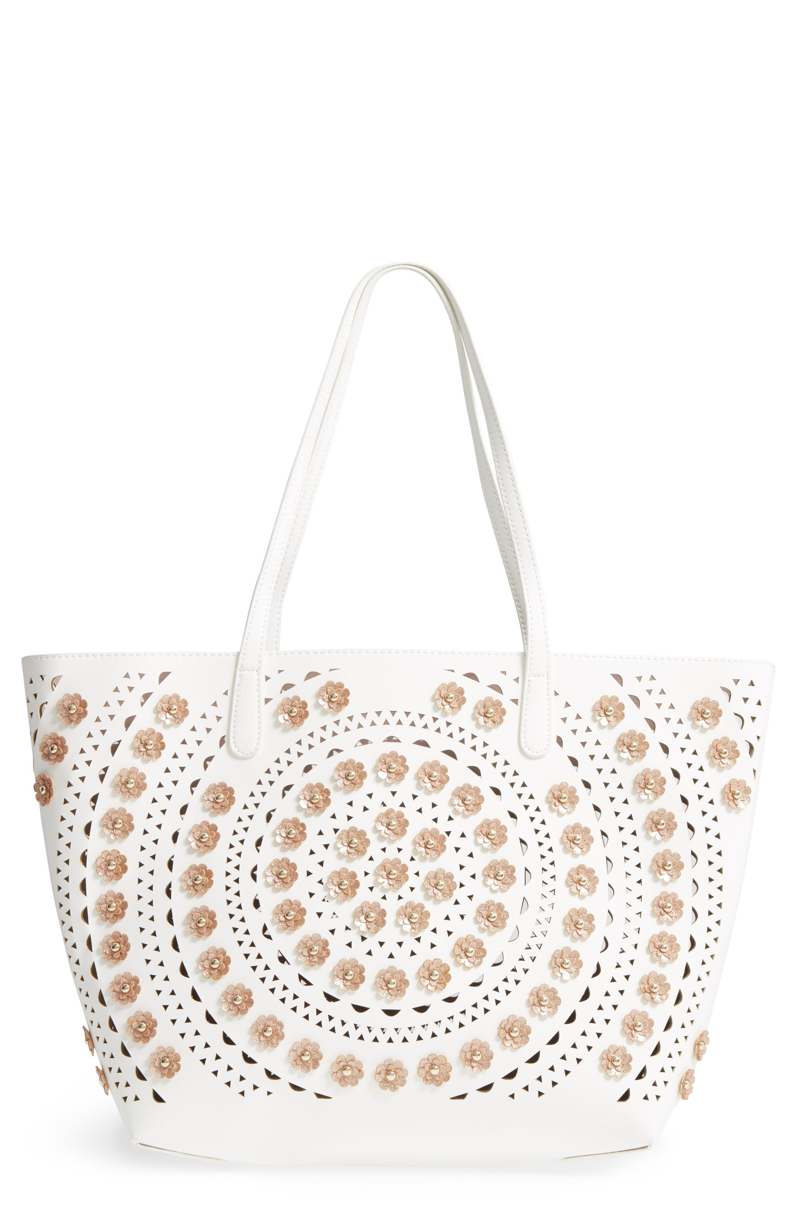 Sondra Roberts Perforated Glitter Flower Faux Leather Tote - Beige In White