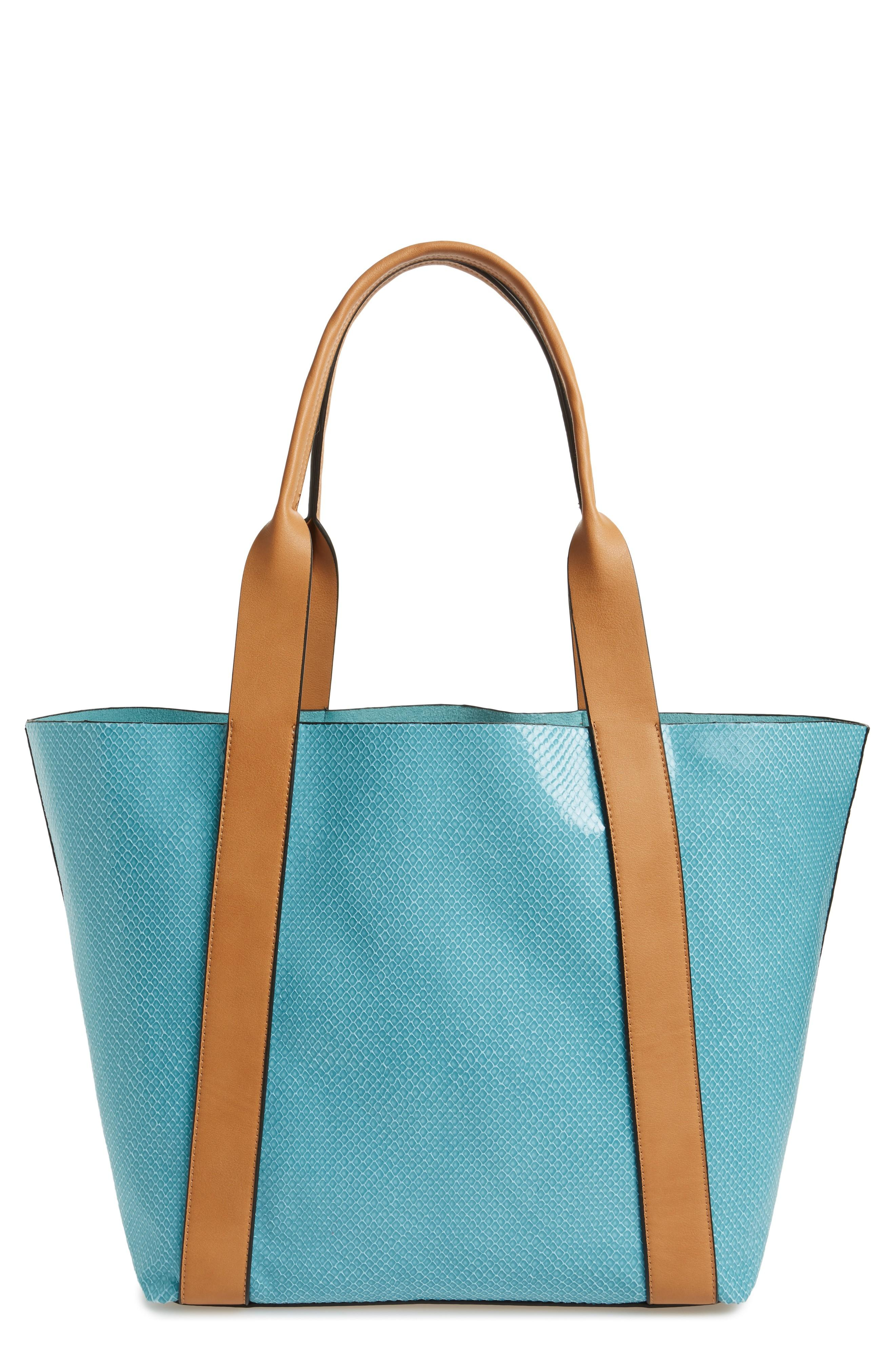 Sondra Roberts Faux Leather Tote & Wristlet - Blue In Turquoise