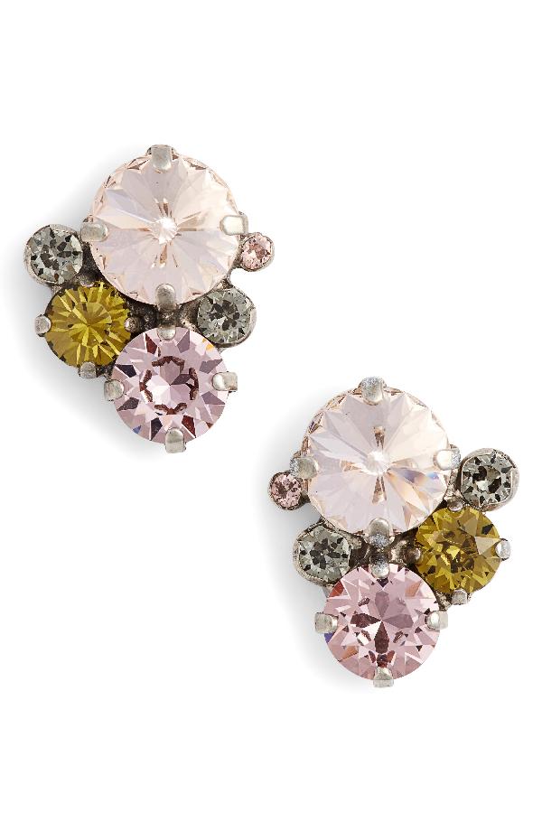 Sorrelli Army Girl Crystal Stud Earrings In Pink
