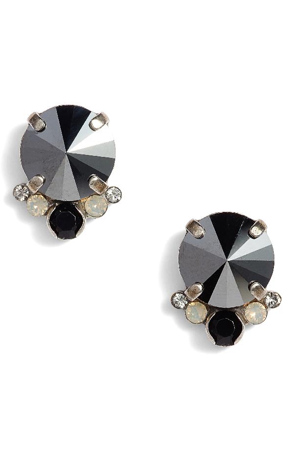 Sorrelli Regal Crystal Stud Earrings In Black