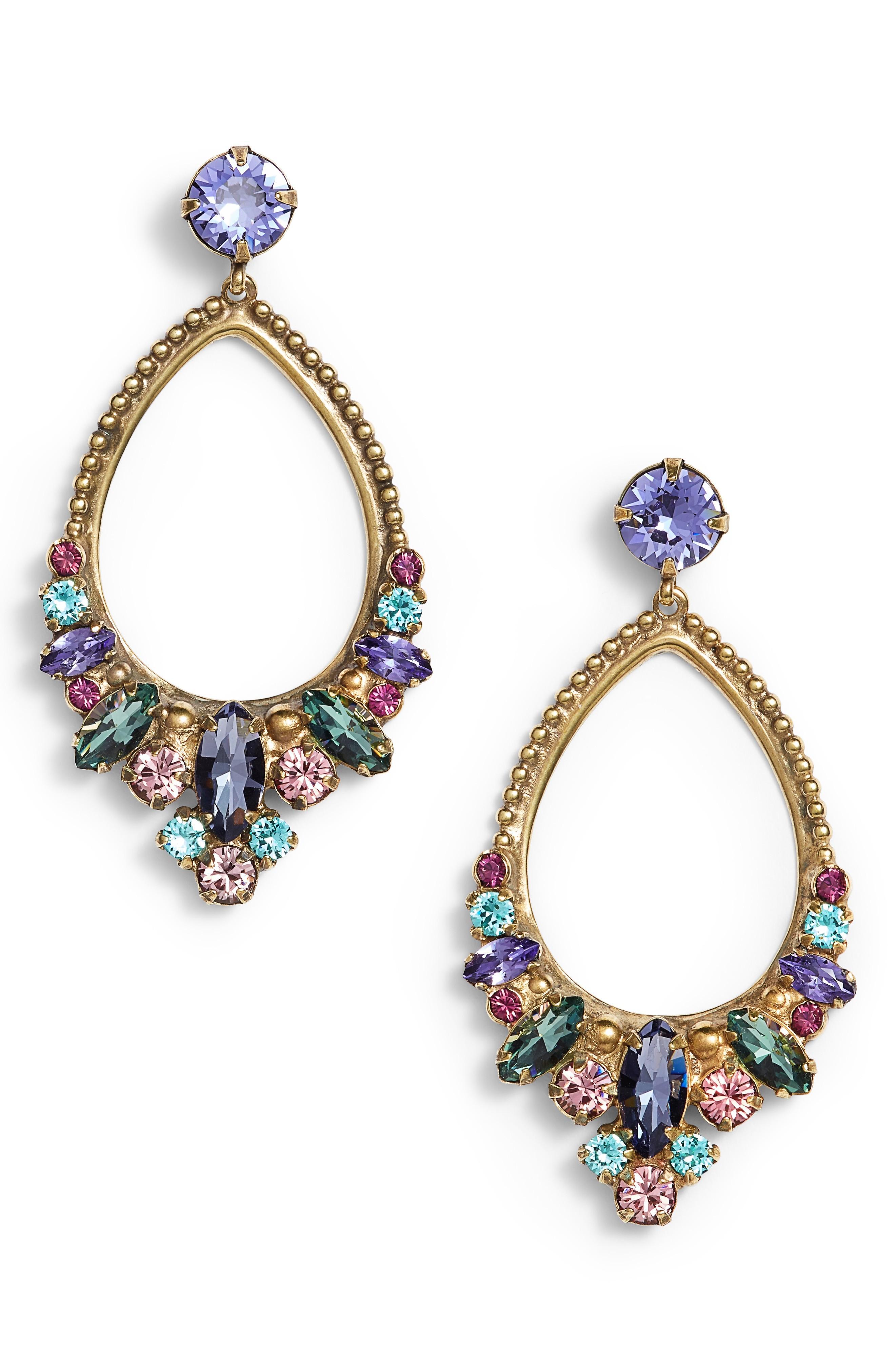 Sorrelli Noveau Navette Crystal Drop Earrings In Multi