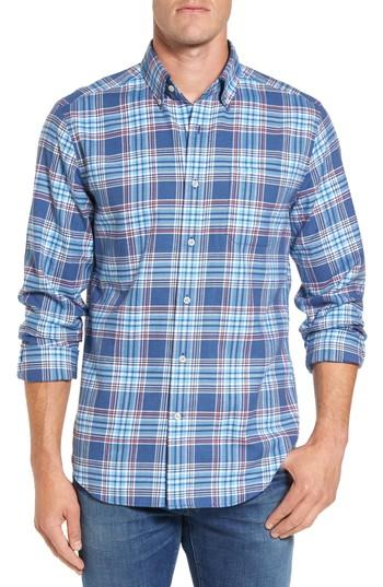 Southern Tide Acadian Classic Fit Plaid Sport Shirt In Dutch Blue