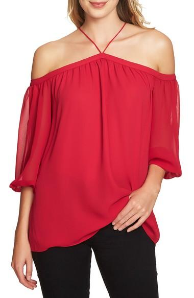 1.state Off The Shoulder Sheer Chiffon Blouse In Persian Red