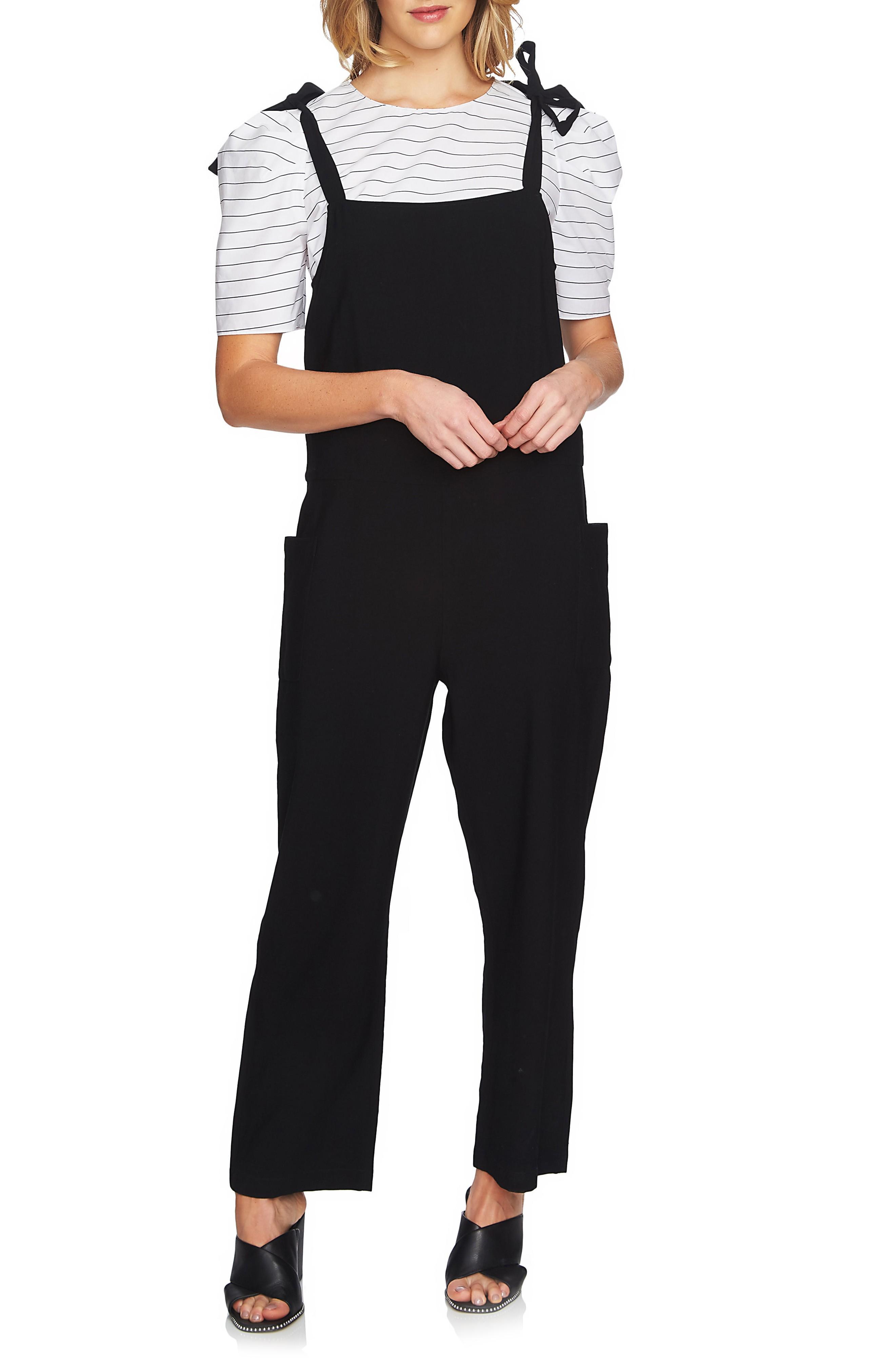1.state Tie Shoulder Overalls In Rich Black