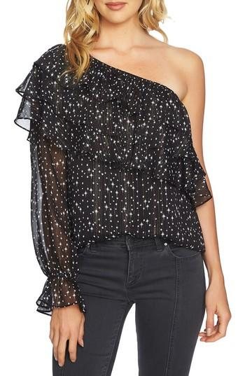 1.state One-shoulder Tiered Blouse In Rich Black