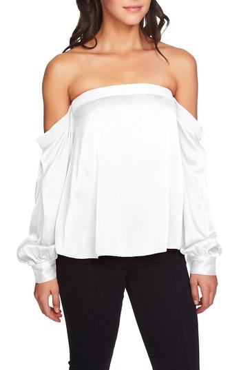 1.state Off-the-shoulder Puff-sleeve Top In Antique White