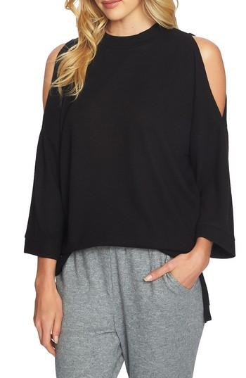 1.state The Cozy Cold Shoulder Top In Rich Black