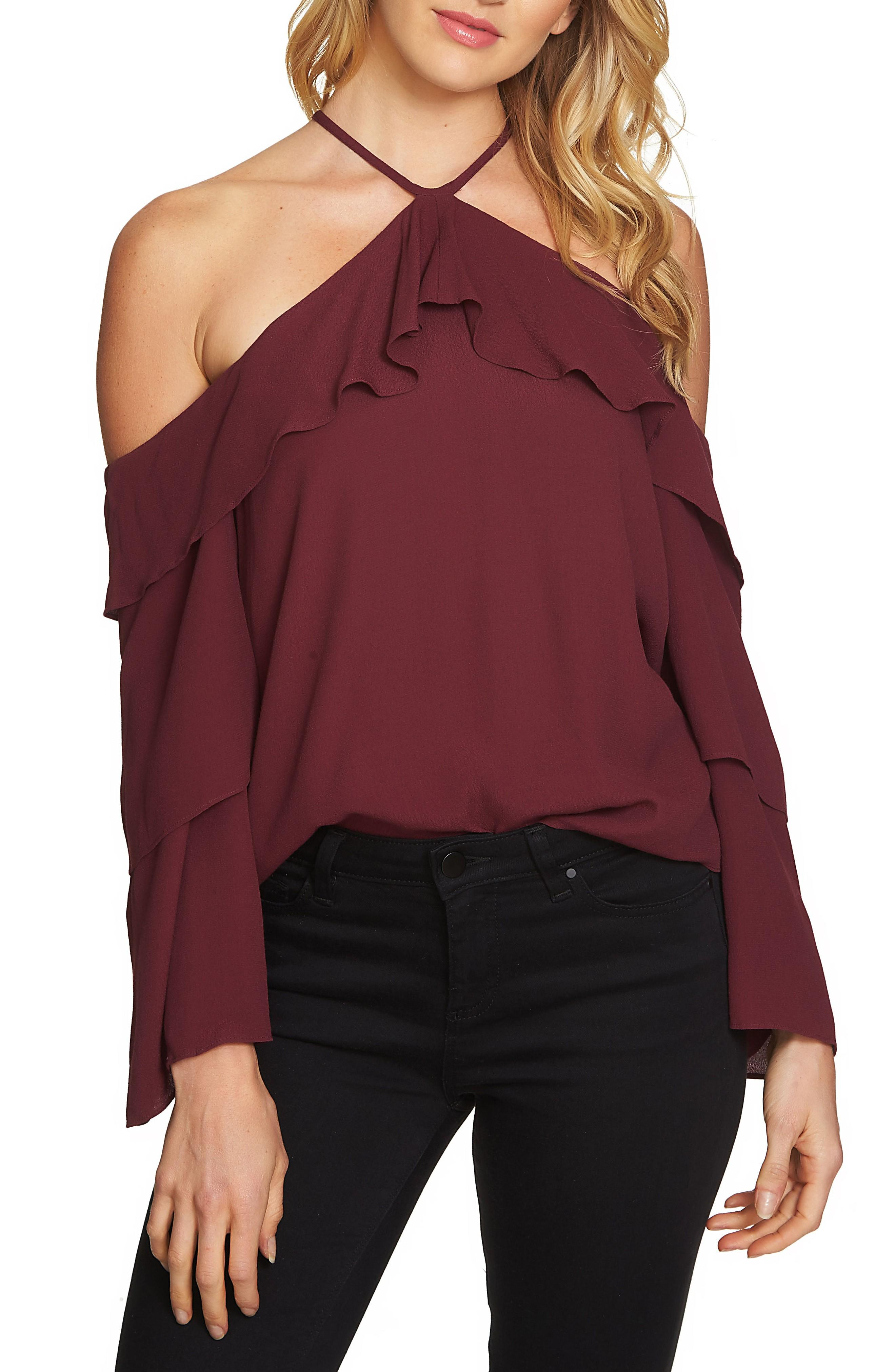 1.state Ruffle Cold Shoulder Blouse In Deep Claret