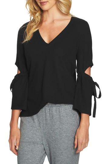 1.state Cozy Slit Sleeve Top In 060-rich Black