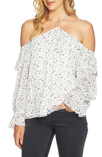 1.state Off-the-shoulder Ruffled-sleeve Top In Antique White