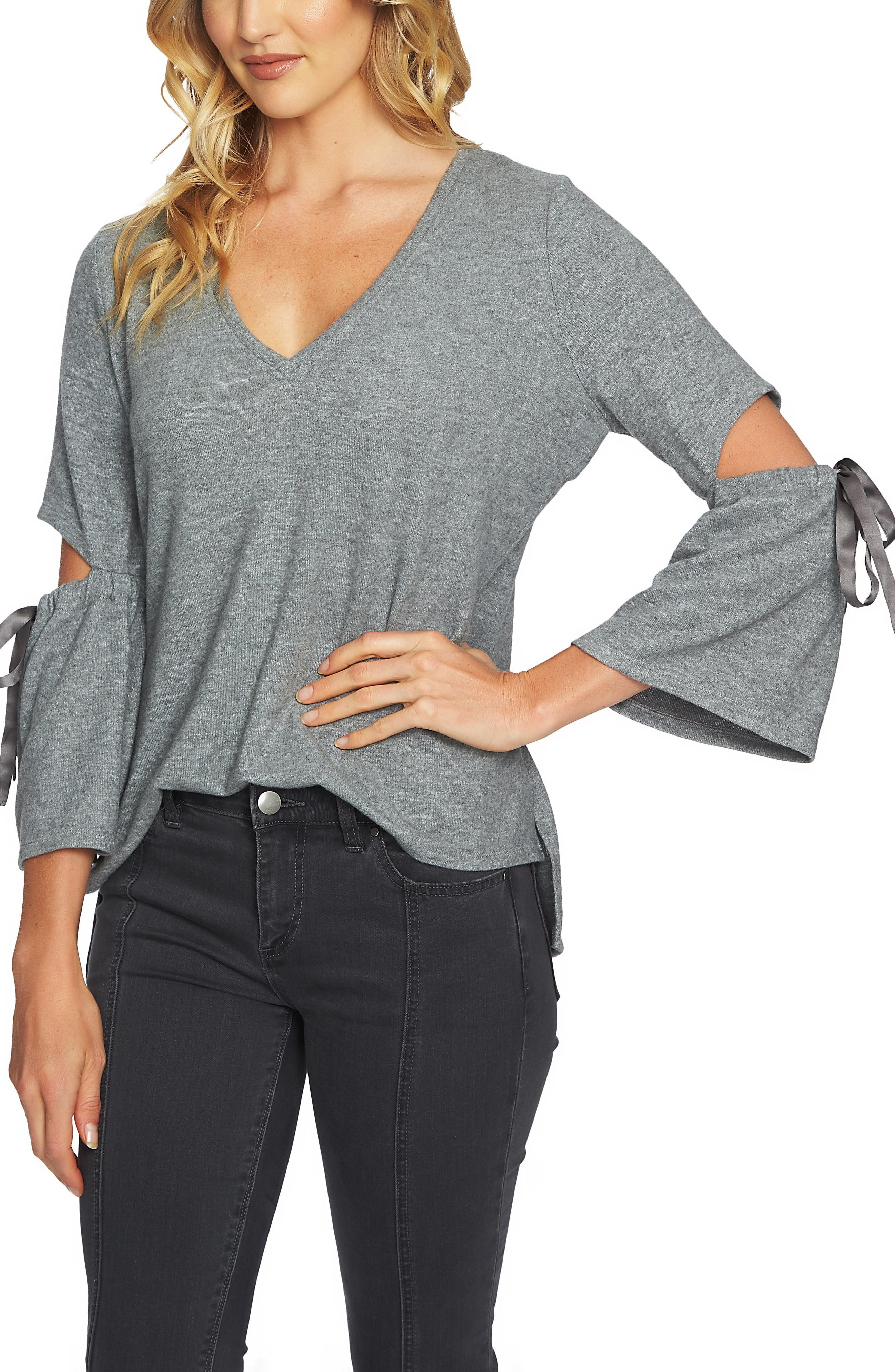 1.state Cozy Slit Sleeve Top In 001-pewter Hthr