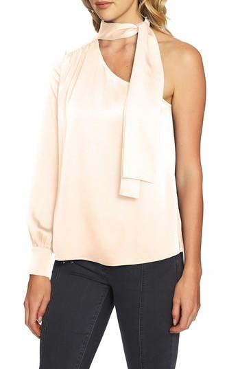 1.state Tie Neck One-shoulder Top In Blush Frost