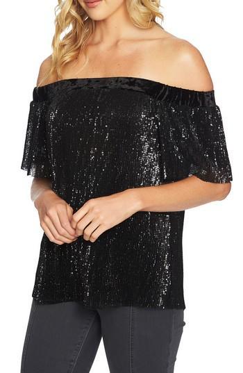 1.state Sequin & Velvet Off The Shoulder Top In Rich Black