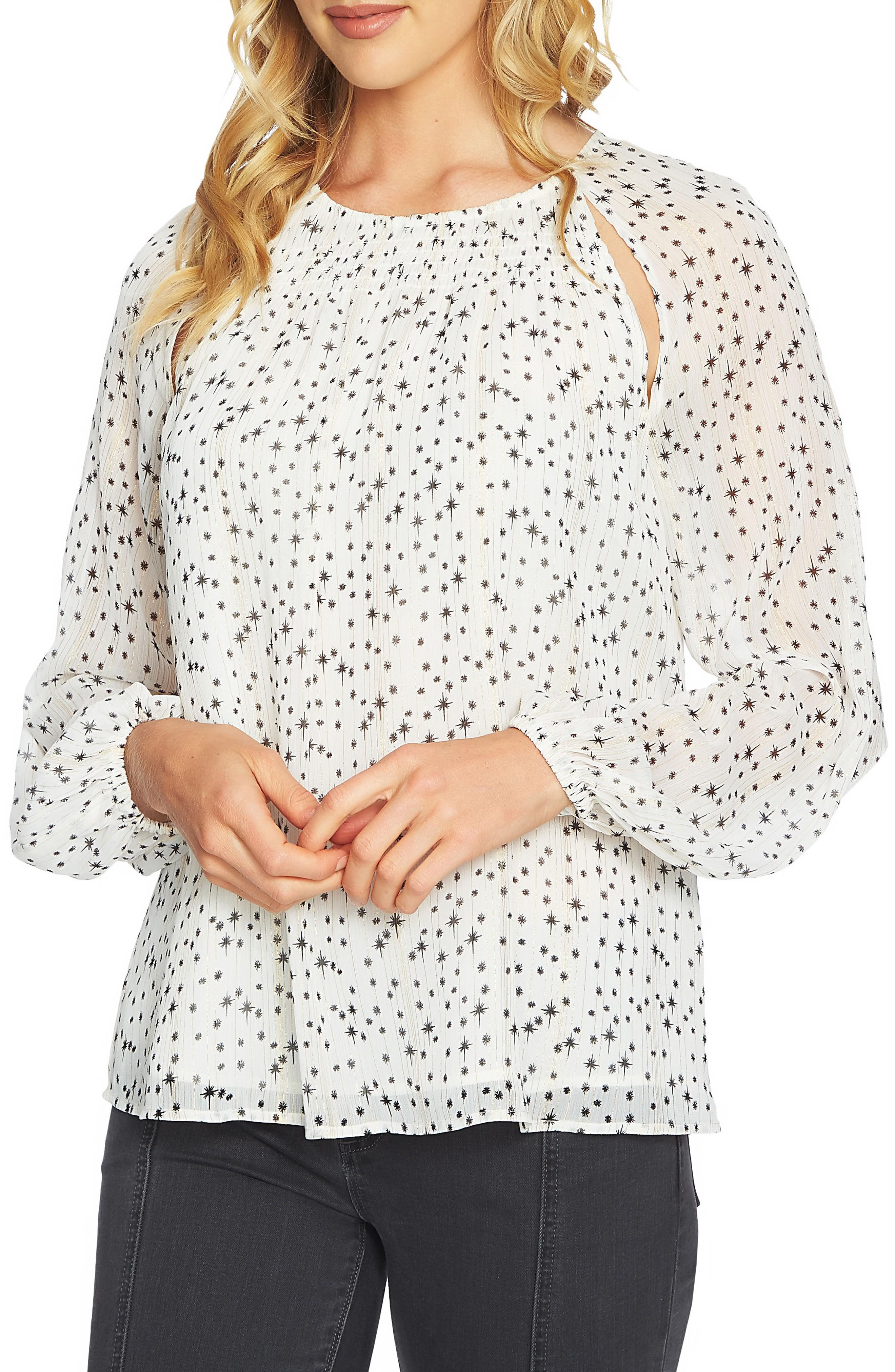 1.state Cutout Pintuck Blouse In Antique White