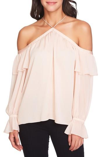 1.state Ruffled Cold-shoulder Top In Blush Frost