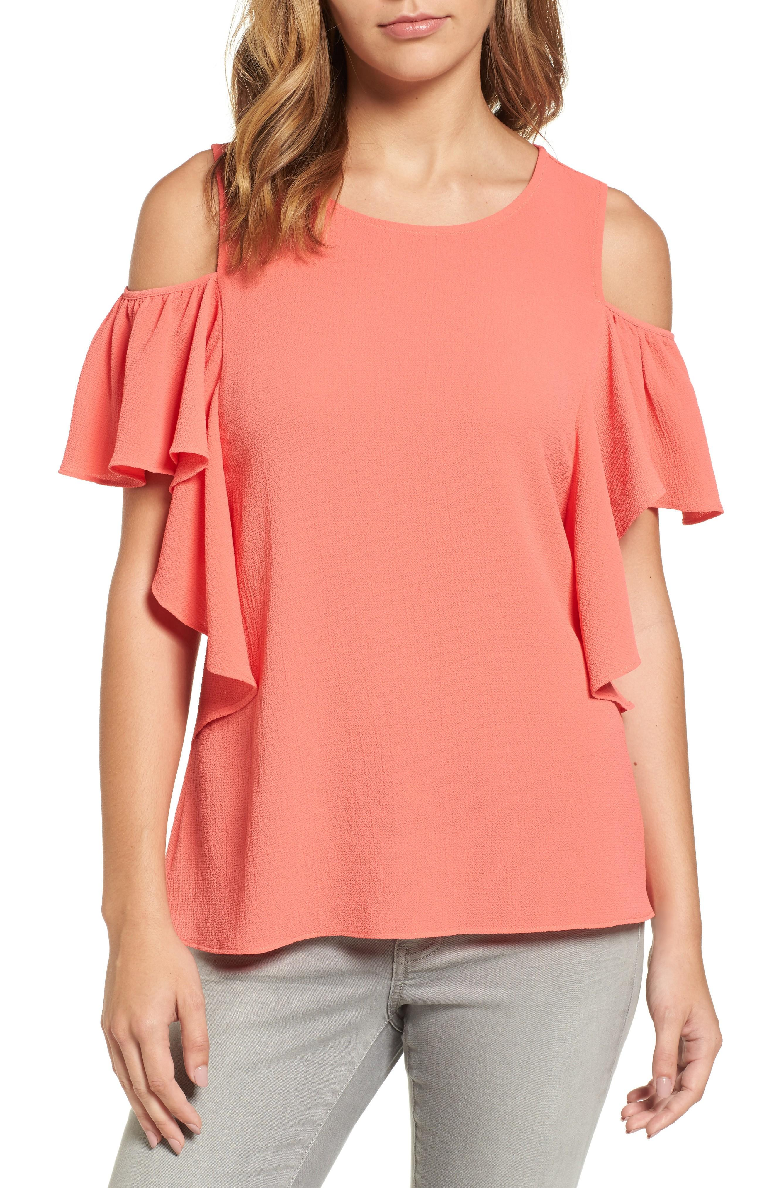 d037c18c742f5 Bobeau Cold Shoulder Ruffle Sleeve Top In Coral