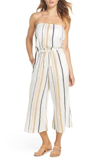 7eaa3f03d10 Elan Strapless Cover-Up Jumpsuit In Natural Stripe