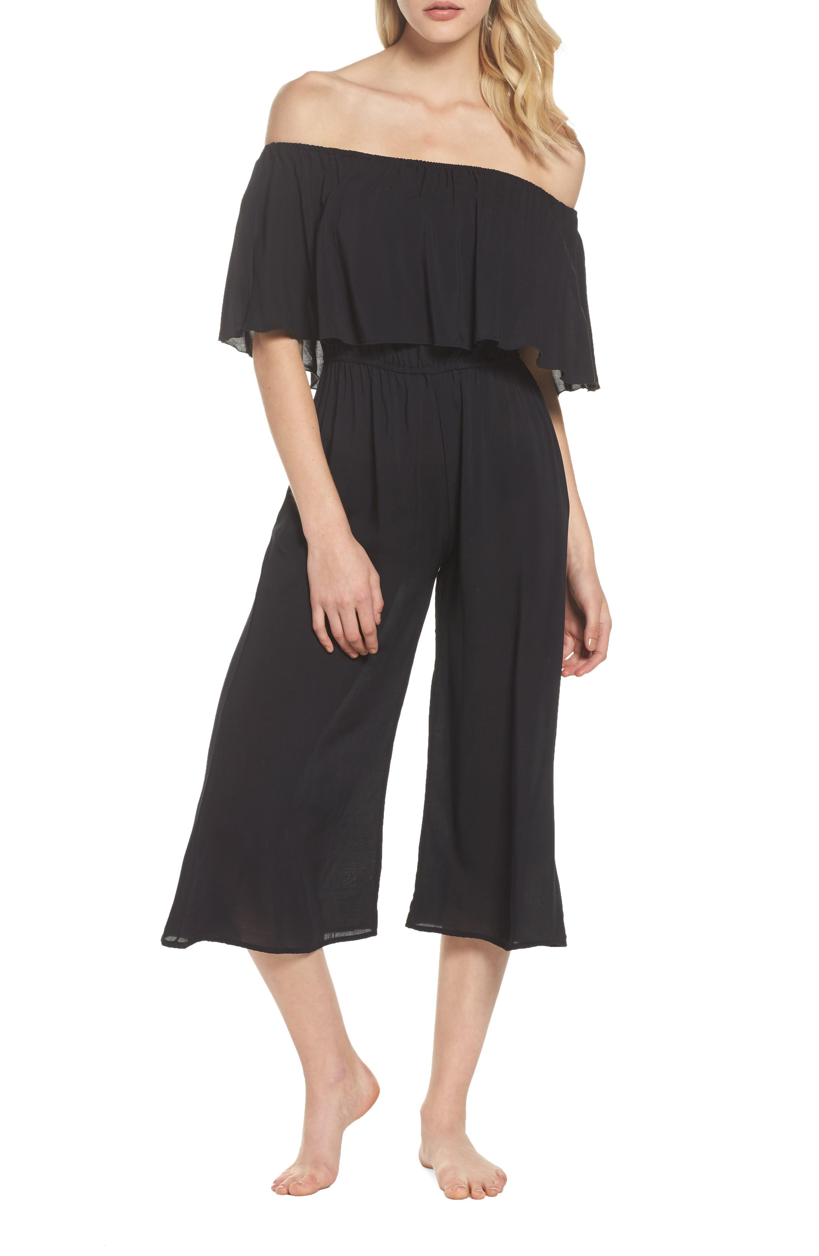 7d5fc9968cc1 Elan Off The Shoulder Cover-Up Jumpsuit In Black | ModeSens