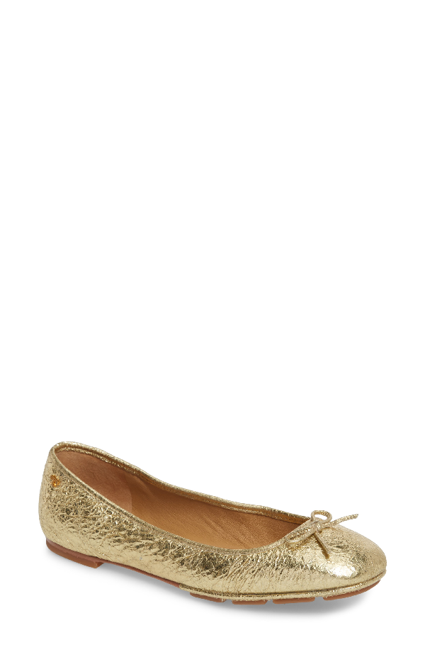 3ce85d36a85e8 Tory Burch Laila 2 Metallic Leather Driver Ballet Flats In Gold  Tan ...