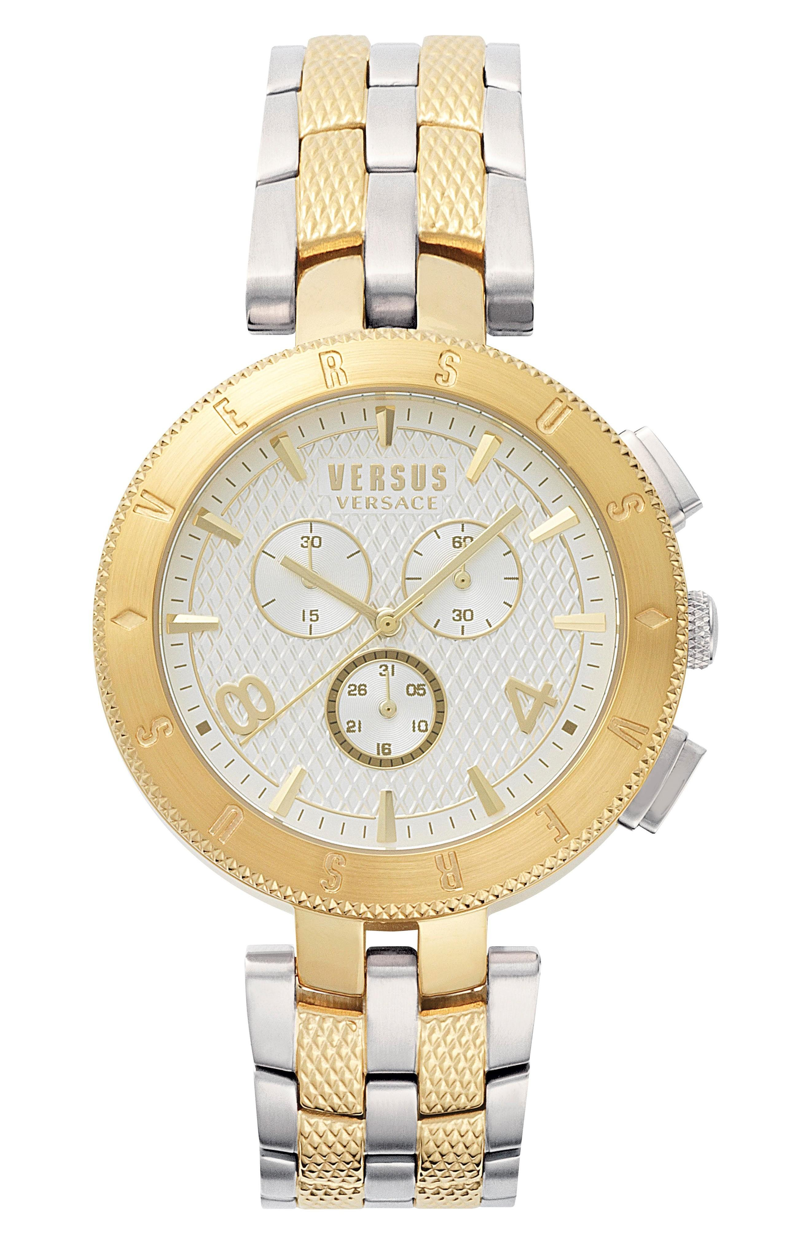 Versus Logo Chronograph Bracelet Watch, 44mm In Silver/ White/ Gold