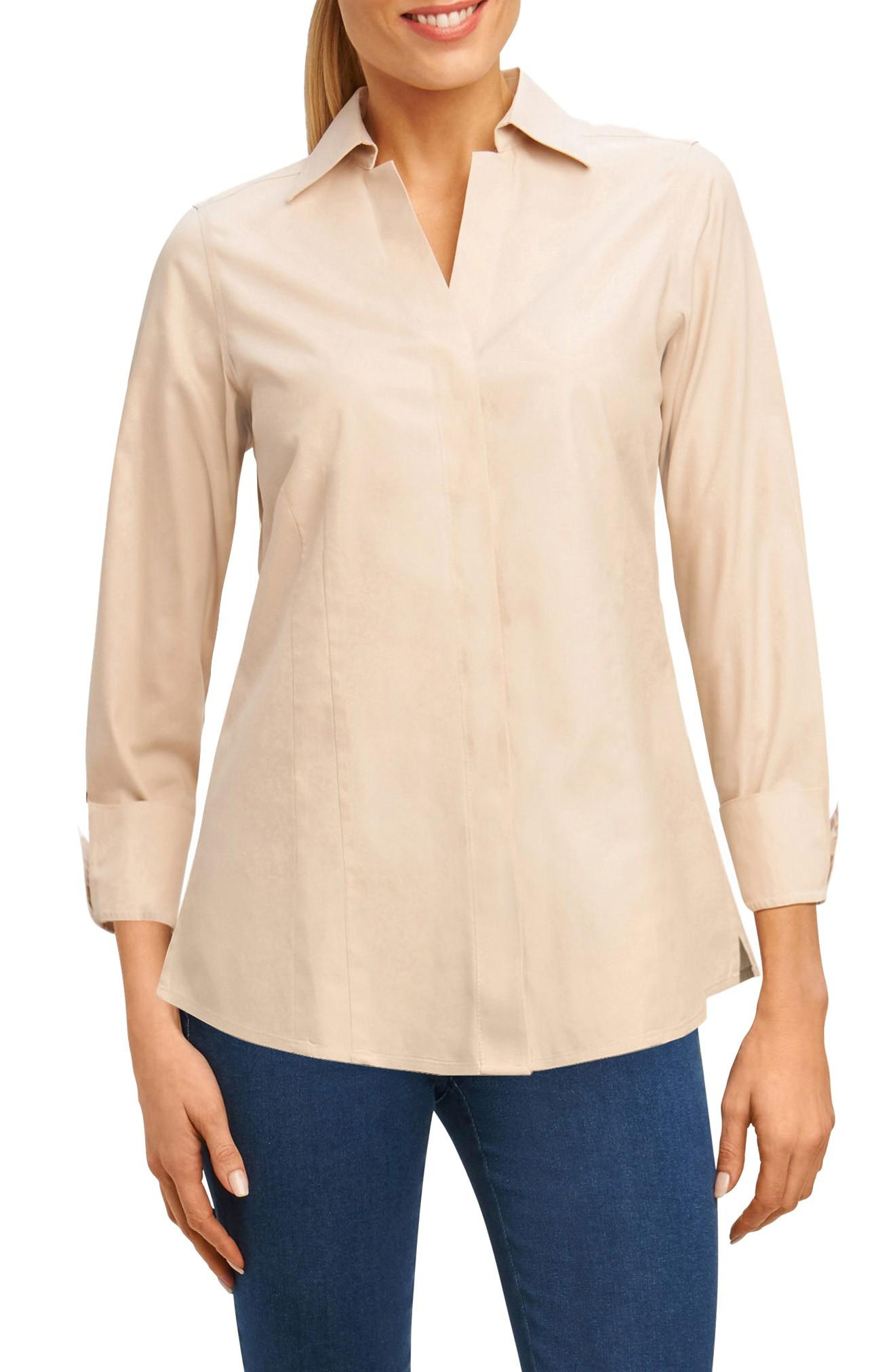 8e020d3ab6224a Foxcroft Fitted Non-Iron Shirt In Almond Tart