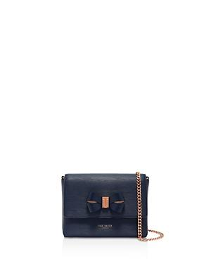 9a4ae7971579 Ted Baker Bowii Bow Mini Bark Leather Crossbody Bag - Blue In Navy Rose Gold