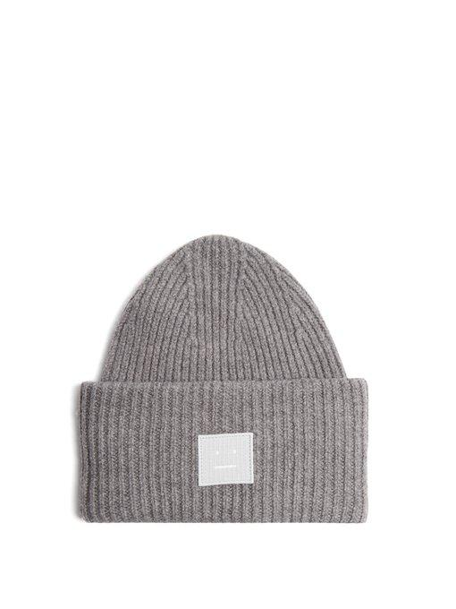 3accd612f8a53 Acne Studios Pansy S Face Ribbed-Knit Beanie Hat In Grey