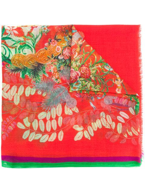 Etro Mixed Floral Print Scarf In Yellow