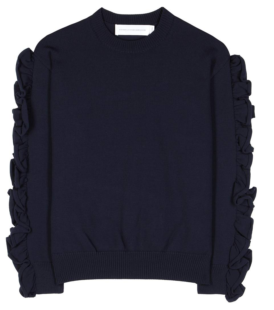 Victoria Victoria Beckham Pullover With Ruffled Sleeves In Eavy