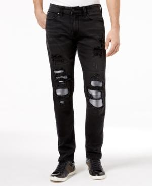 6bf04a0b3293cc Guess Men's Slim Tapered Ripped Moto Stretch Jeans In Obsidian Wash W/  Destroy