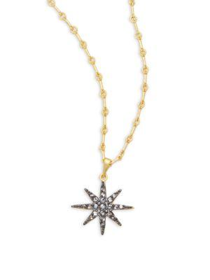 Freida Rothman Classic Cz & 14k Gold-plated Sterling Silver Starburst Pendant Necklace