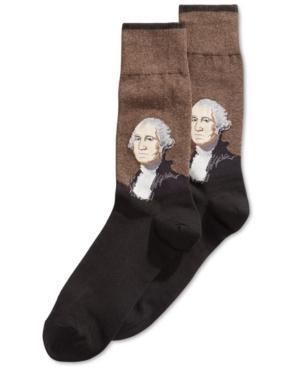 Hot Sox Men's Socks, George Washington Dress In Brown Multi