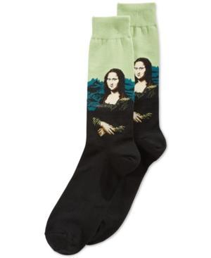 Hot Sox Men's Socks, Mona Lisa Crew In Black/green