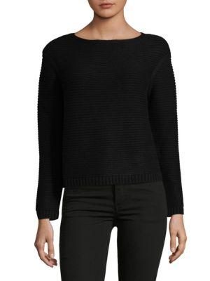 Lafayette 148 Link-Stitch Cashmere Sweater In Black