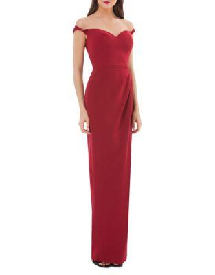 Js Collections Sweetheart Off-the-shoulder Gown In Dark Cherry
