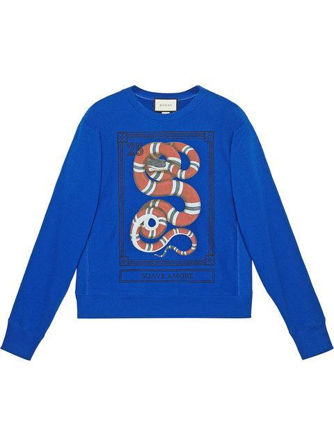 3ef460bbe Gucci Snake Stamp Graphic Crewneck Sweatshirt In Blue | ModeSens