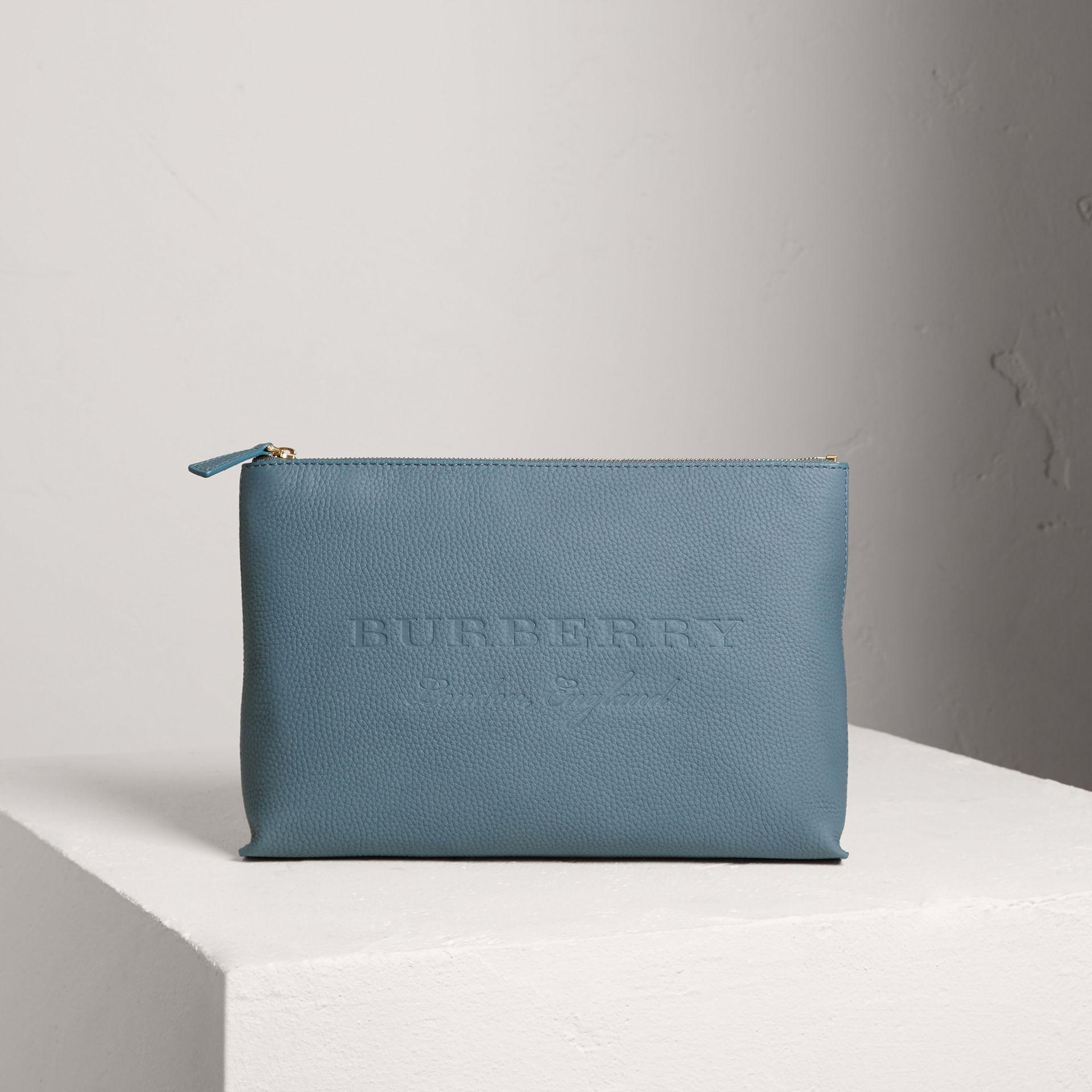 Burberry Large Embossed Leather Zip Pouch In Dusty Teal Blue