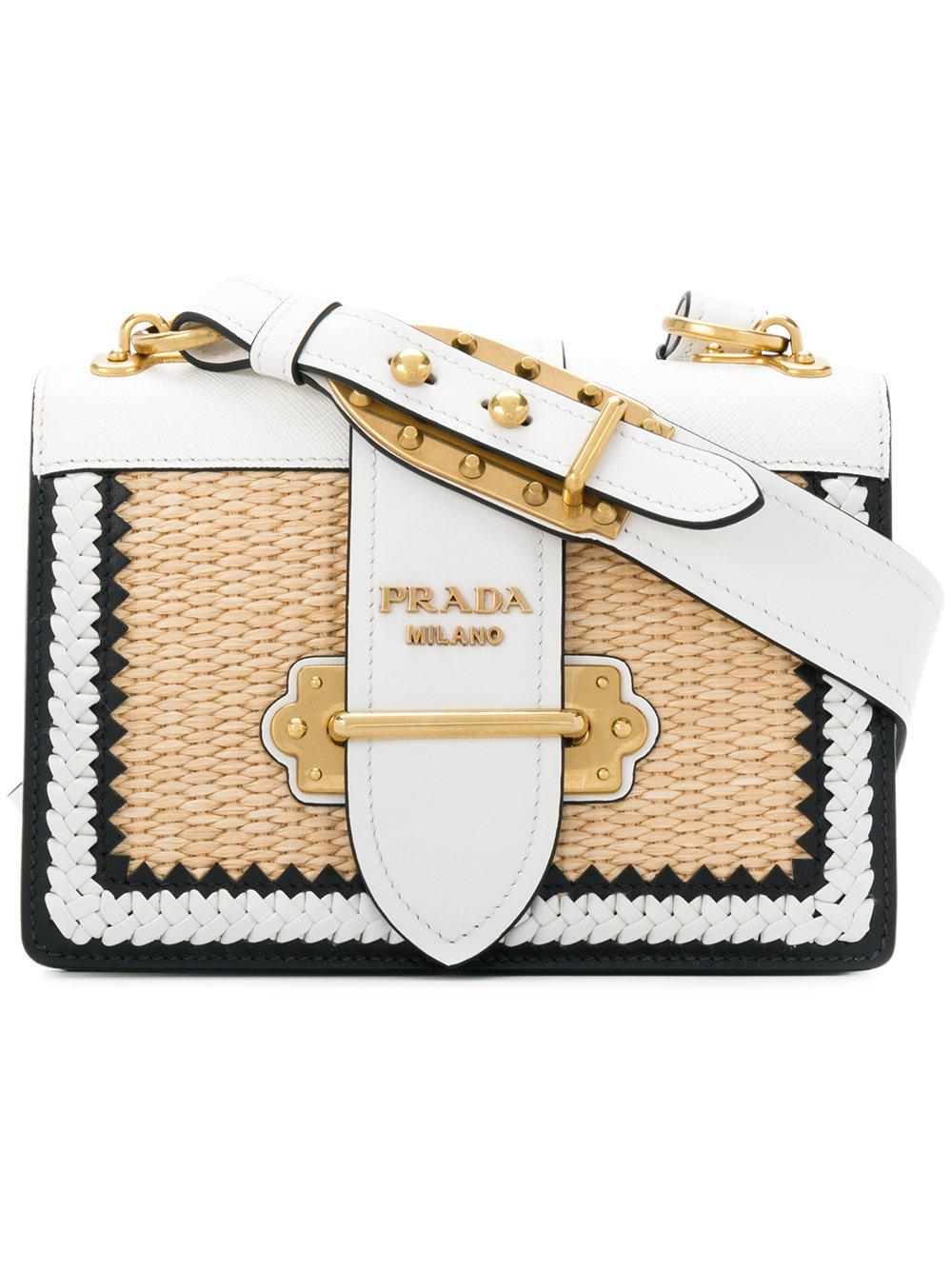 325c9ce4552e Prada Cahier Whipstitched Leather And Raffia Shoulder Bag In White ...