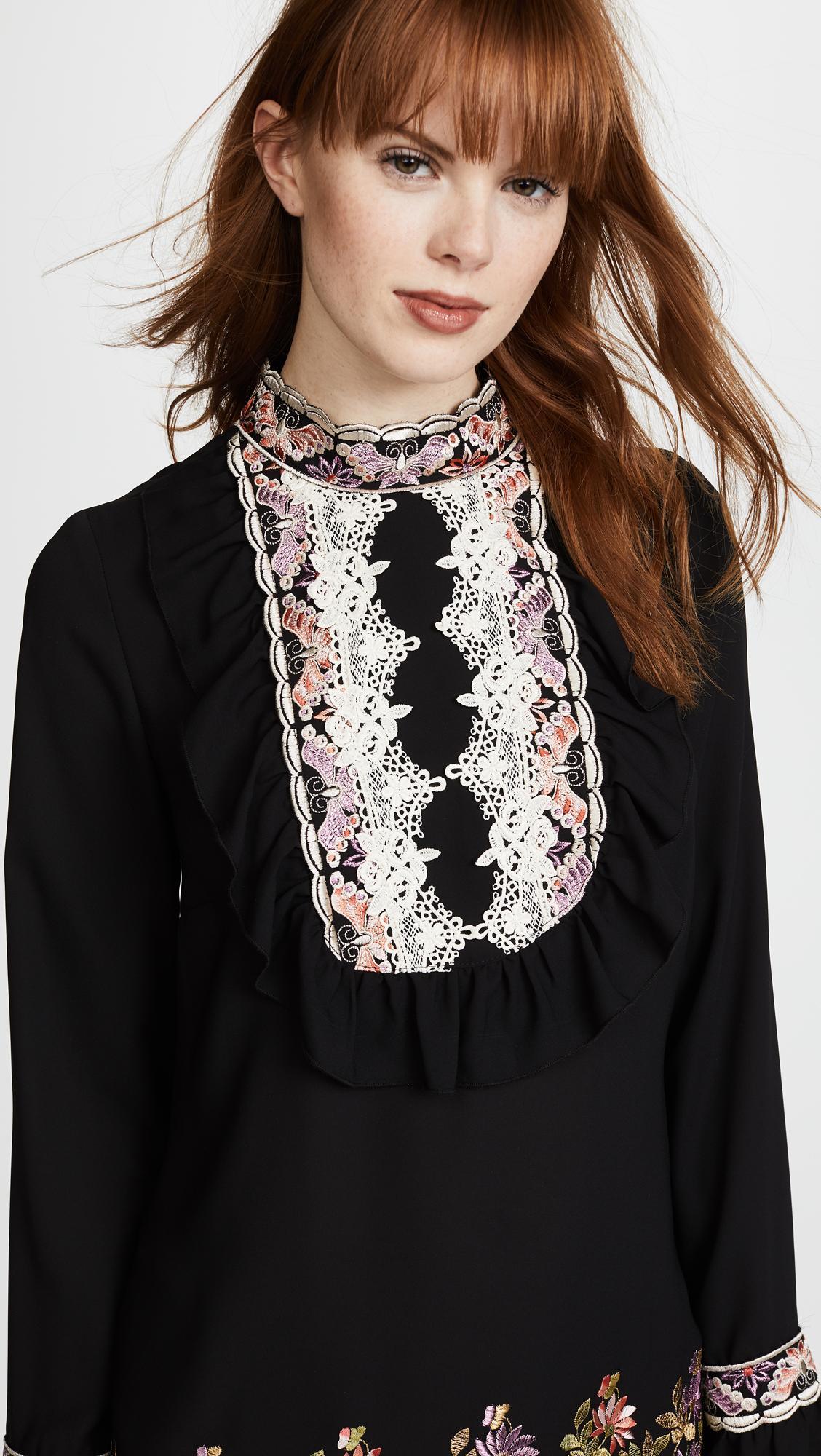 6797e82e23c Anna Sui Daisy Embroidered Georgette Dress In Black Multi